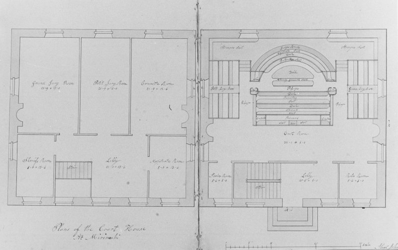Photographic copy of drawing showing plan of Court house at Mirimashi.