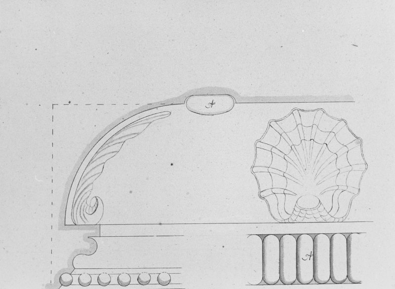 Photographic copy of drawing showing detail of coving.