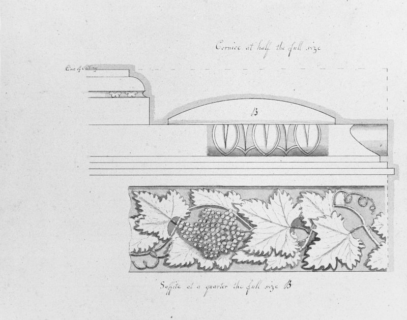 Photographic copy of drawing showing detail of cornice.