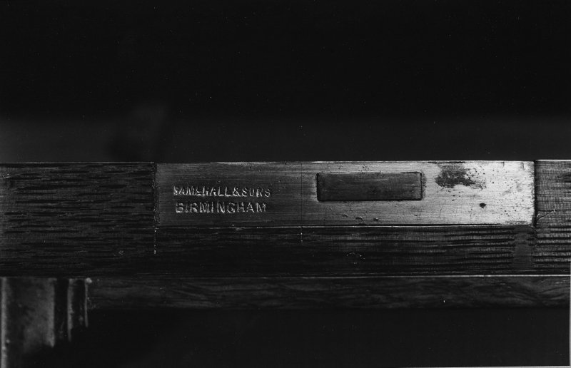 Interior. Detail of lock of bookcase.