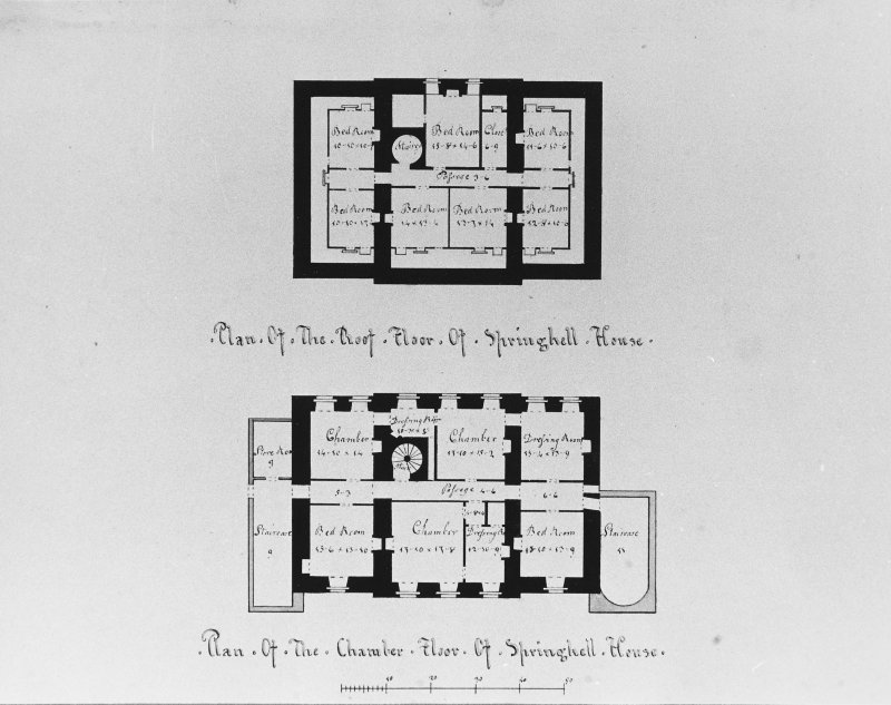 Photographic copy of drawing showing plan of roof and chamber floors.