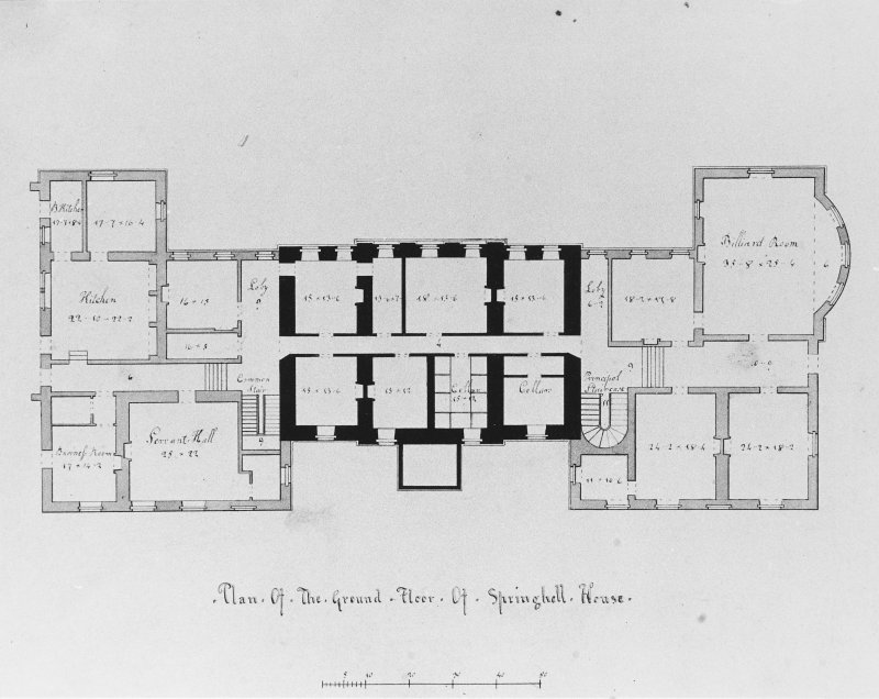 Photographic copy of drawing showing plan of ground floor.