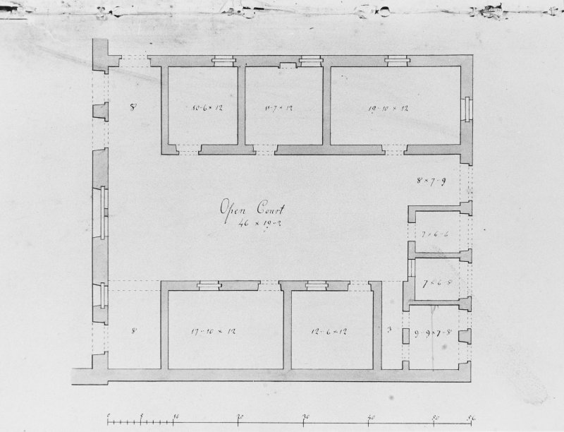 Photographic copy of drawing showing plan of servants' quarters.