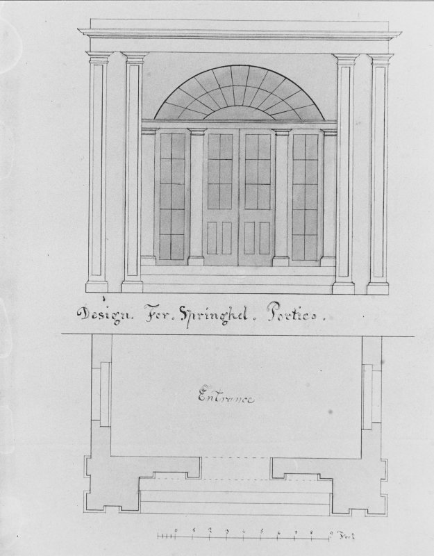 Photographic copy of drawing showing plan and elevation of design for portico.