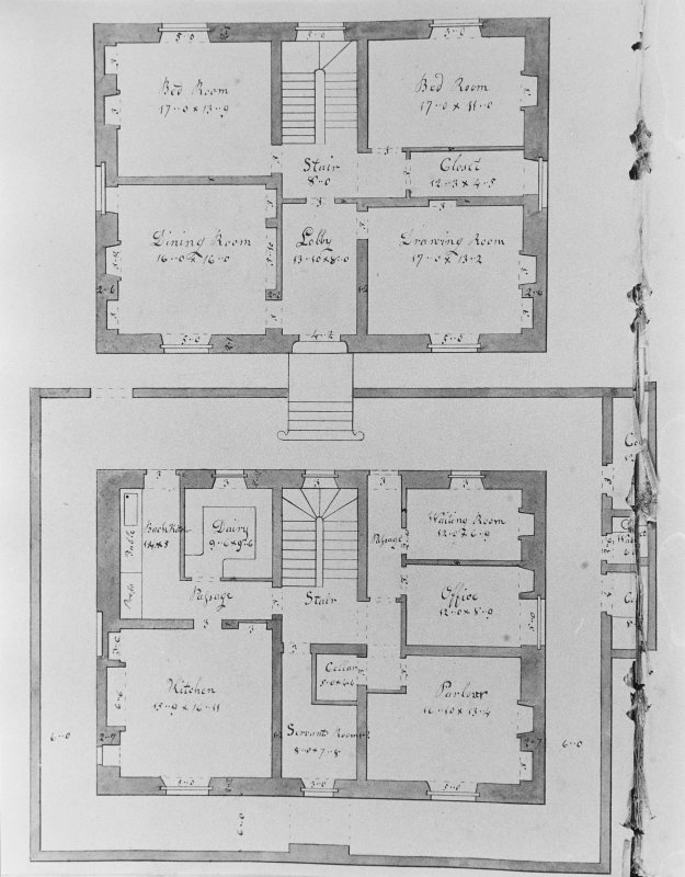 Photographic copy of drawing showing plans of Fairy Knowe.