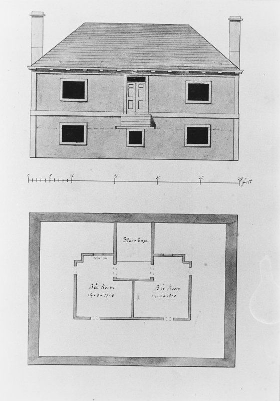 Photographic copy of drawing showing plan and elevation of Fairy Knowe.