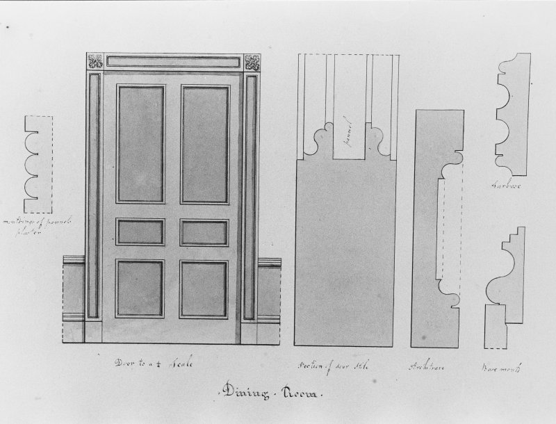 Photographic copy of drawing showing section, details and elevation from dining room.