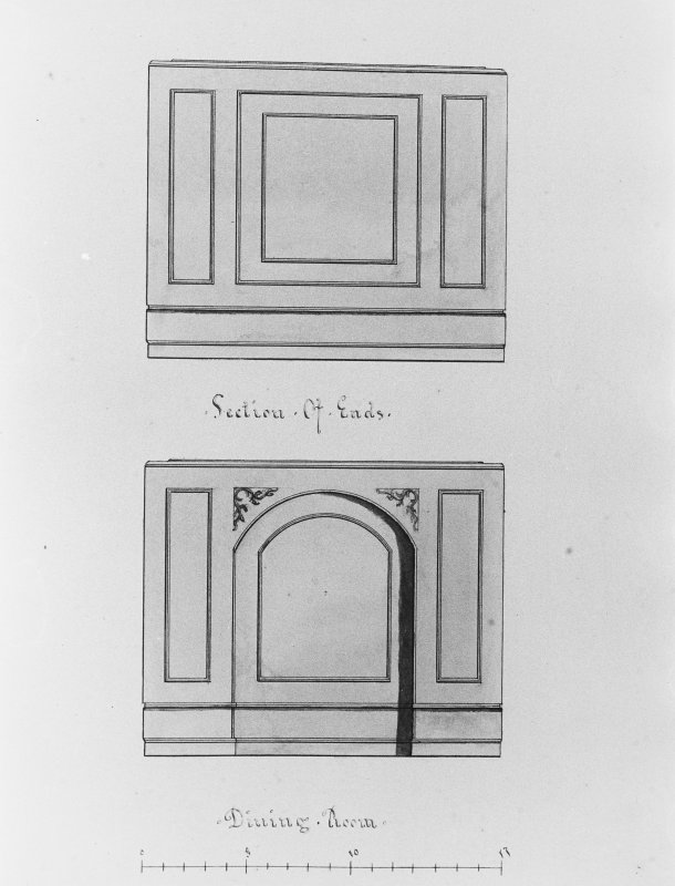 Photographic copy of drawing showing sections from dining room.