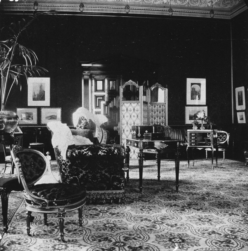 Copy of historic photograph showing interior view of drawing room.