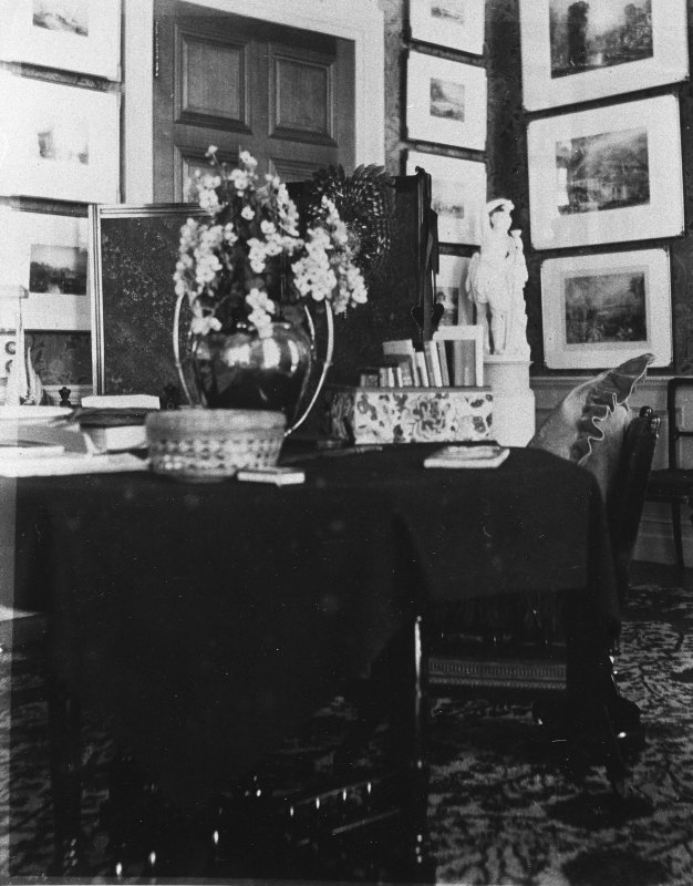 Copy of historic photograph showing interior view of boudoir.