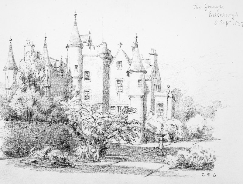 Photographic copy of a pencil drawing by Sir Thomas North Dick Lauder, Ninth Baronet showing the house seen from the South West. Drawing insc. 'The Grange. Edinburgh. 8 Septr 1897. TDL.'