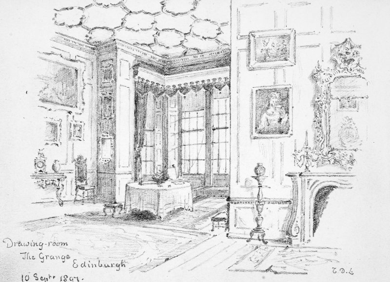 Photographic copy of a drawing of the interior of the drawing room of Grange House. Insc. 'Drawing-room. The Grange. Edinburgh. 10 Septr 1897.' Signed 'T.D.L.'