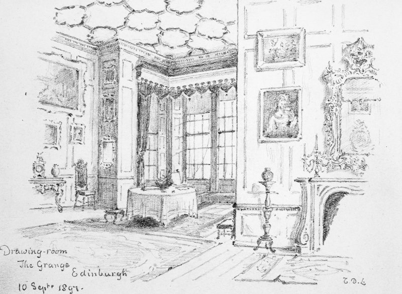 Photographic copy of a pencil drawing of the drawing room by Sir Thomas North Dick Lauder, Ninth Baronet. Drawing insc. 'Drawing-room. The Grange. Edinburgh. 10 Septr 1897. TDL.'