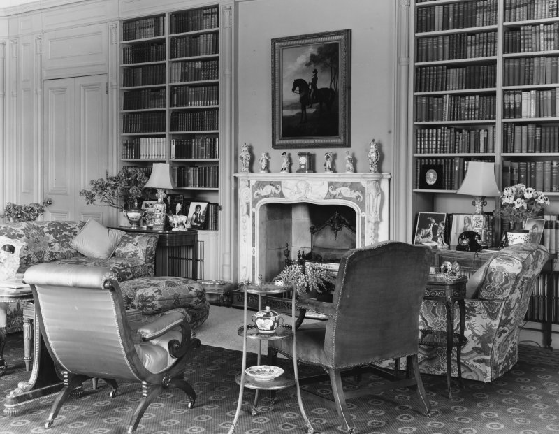 Dalmeny House, interior. View of library.