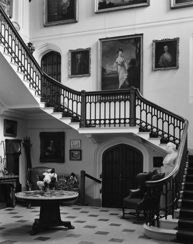 Dalmeny House, interior. View of staircase.