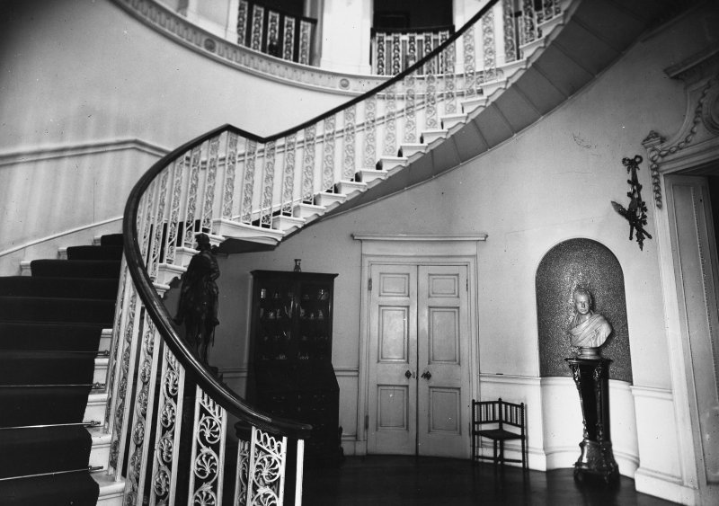 Minto House, interior View of main staircase in inner hall, at ground floor