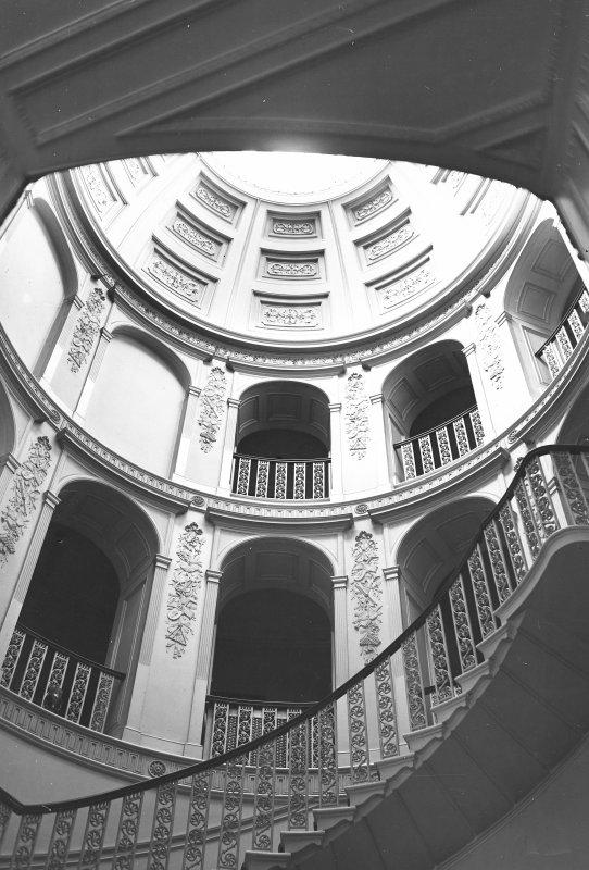 Minto House, interior View of main staircase, arcaded landings and dome looking up from ground floor inner hall