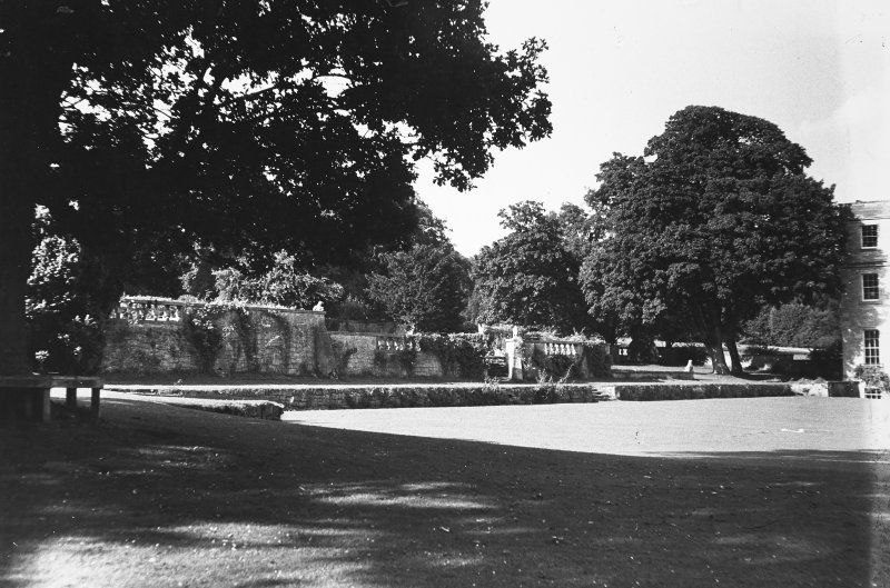 Minto House View of garden terrace, to West of house
