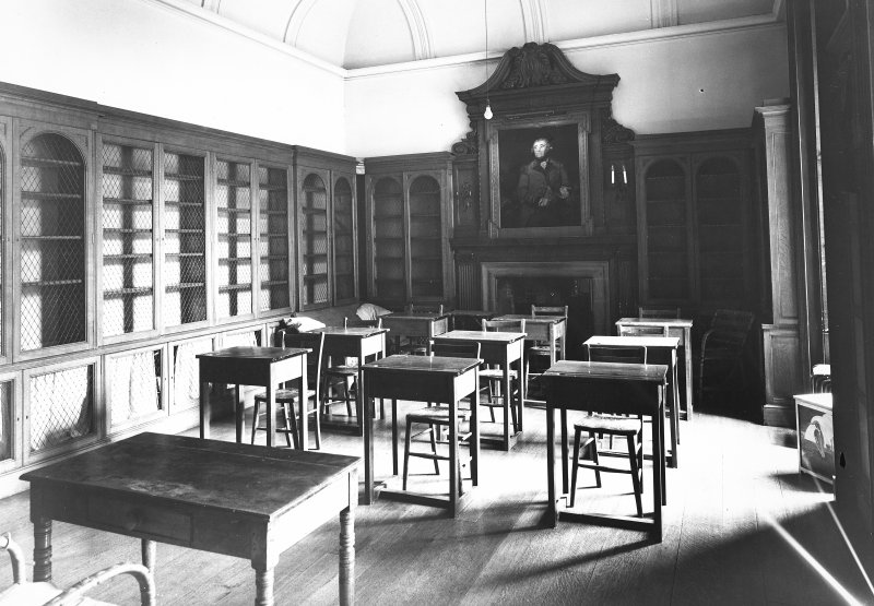 Minto House, interior View of ground floor class room (former study), showing chimney-piece