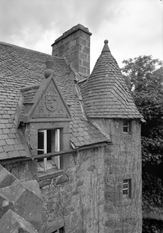 Detail of turret and carvings above the dormer window, Fiddes Castle.