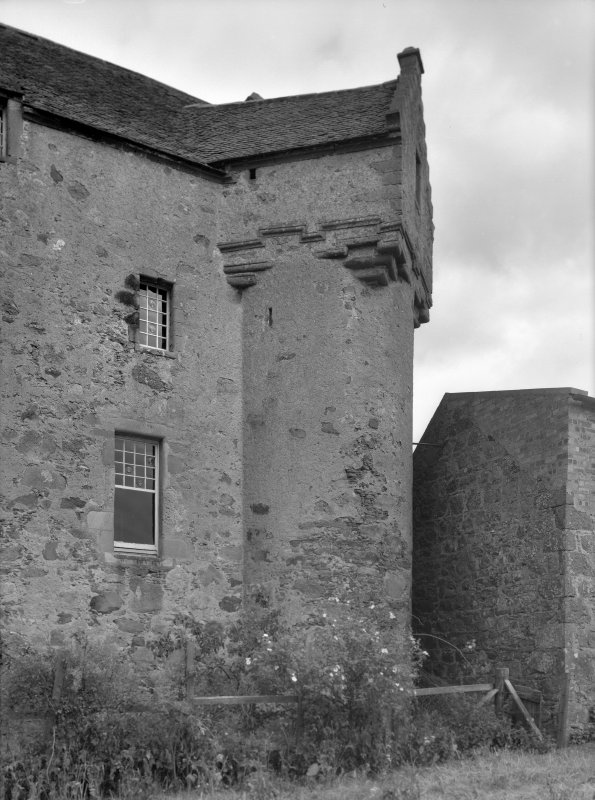View of west elevation tower, Fiddes Castle.