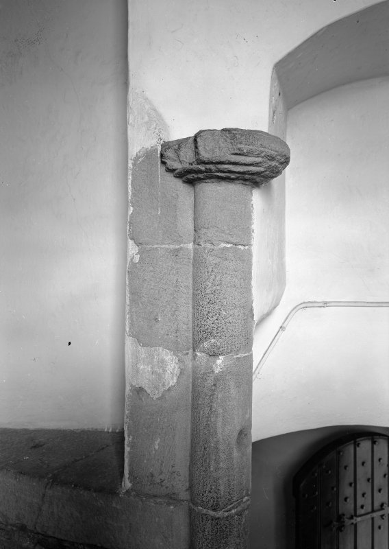 Interior view of Fiddes Castle  showing detail of stone column.