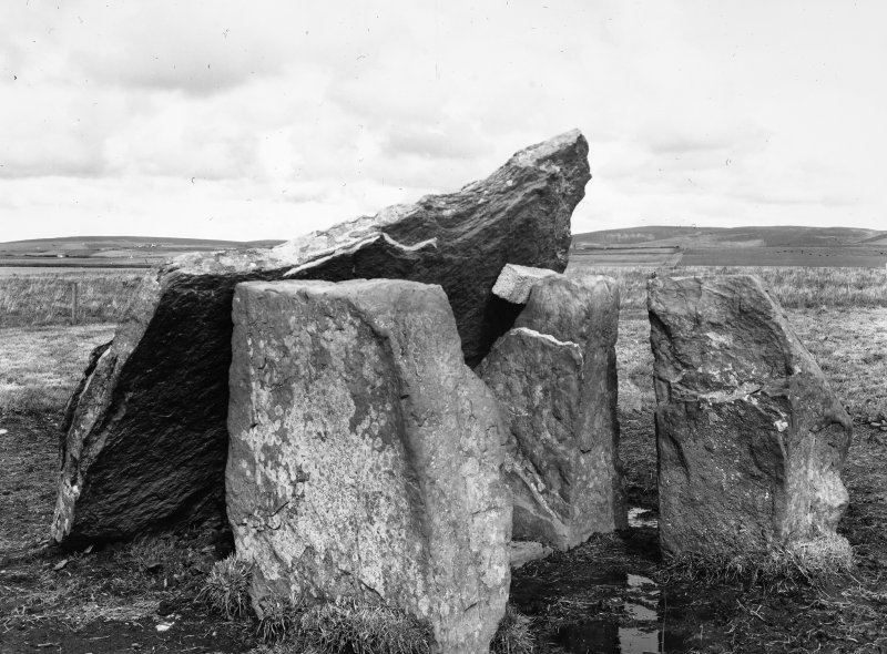 Pre-excavation photograph of Dolmen & capstone, from S.W.