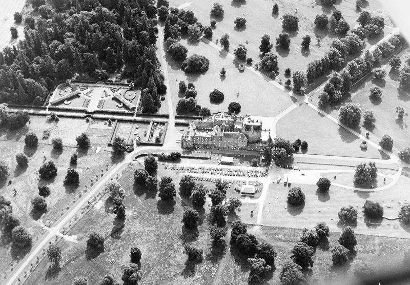 Glamis Castle, oblique aerial view.