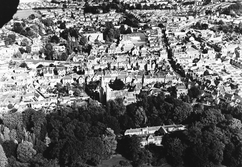 Oblique aerial view of Brechin Cathedral, taken from SE, centred on cathedral.