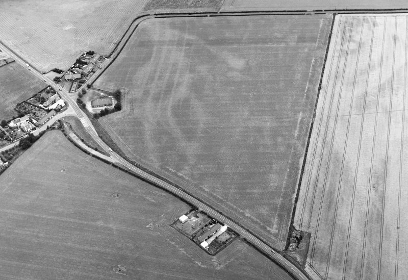 Oblique aerial view of Inchbare South centred on the cropmark of a pit-defined cursus, with rig, pit-enclosure, pit-allignment and unenclosed settlement adjacent. Taken from the SSW.