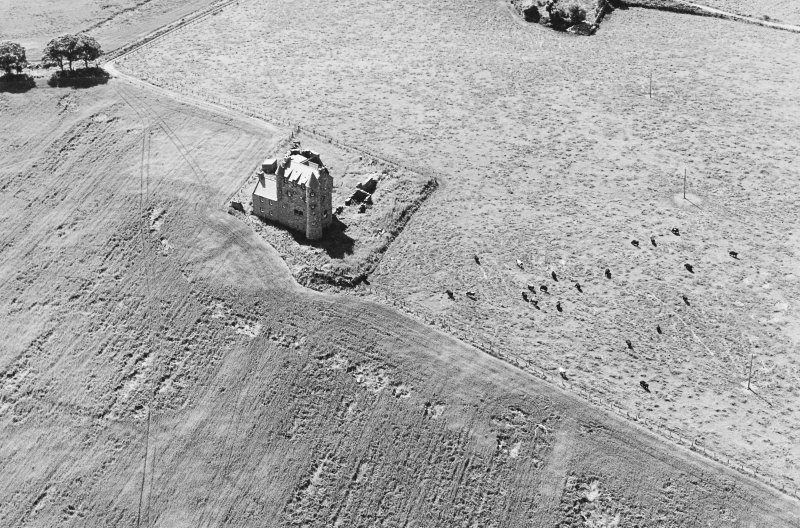 Inchdrewer Castle: oblique air photograph.