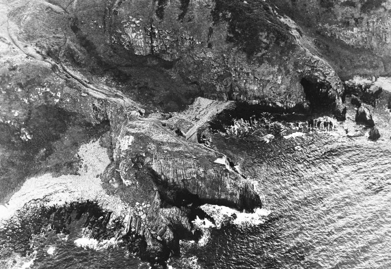 Oblique aerial view of Findlater Castle, taken from the east, centred on the castle.