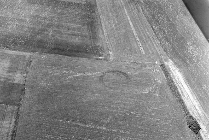 Oblique aerial view of Middleton centred on the cropmarks of an enclosure, taken from the S.