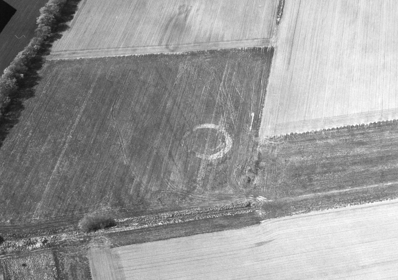 Oblique aerial view of Middleton centred on the cropmarks of an enclosure, taken from the SW.