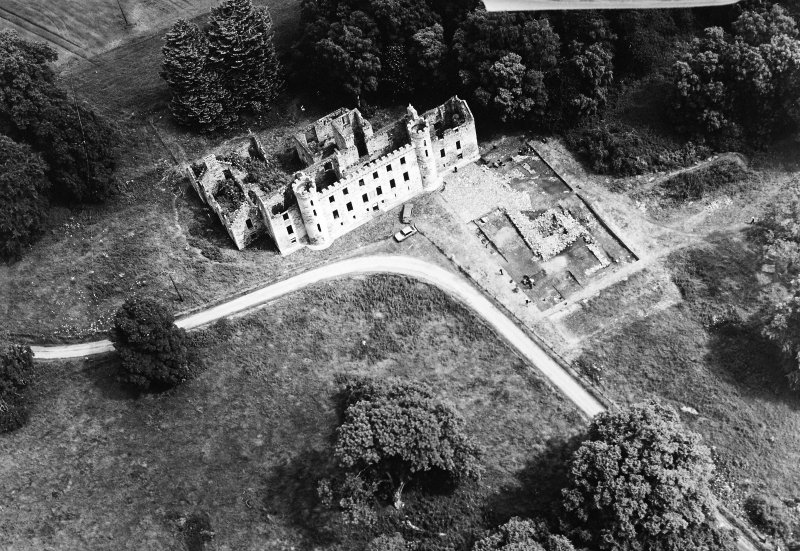 Oblique aerial view of Fetternear House, centred on the trial excavations.