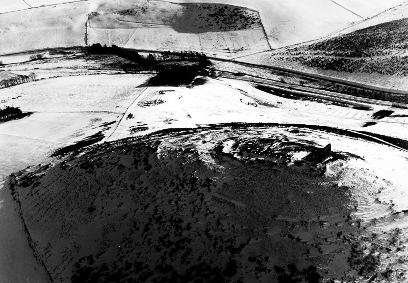 Dunnideer, fort, oblique aerial photograph.