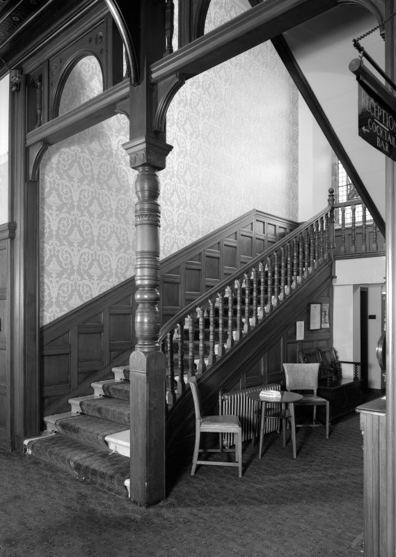 Interior view of Cairndhu Hotel, Helensburgh, showing hall staircase.