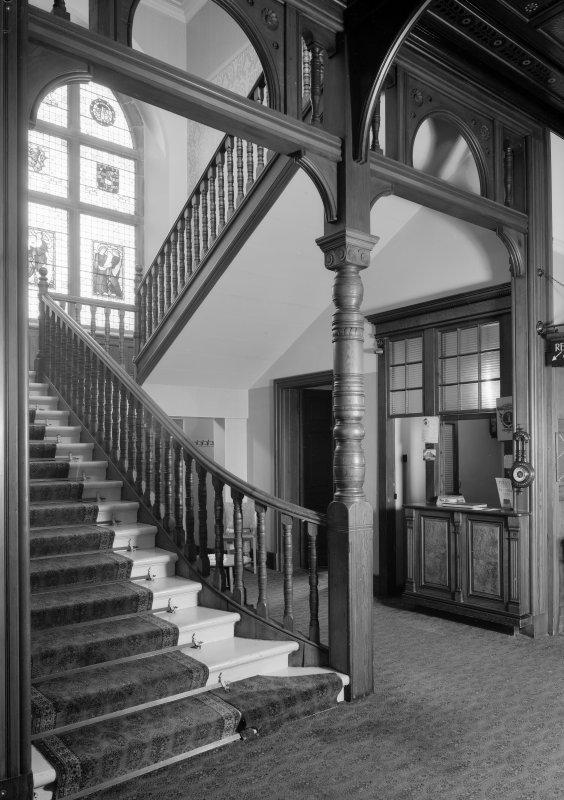 Interior view of Cairndhu Hotel, Ardrossan, showing staircase.