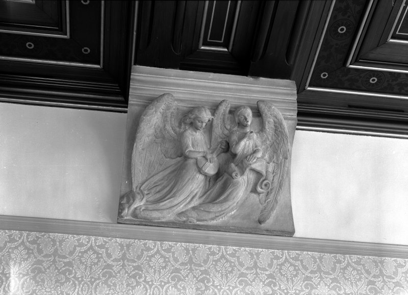 Detail of carved angel corbel in dining room, Cairndhu Hotel, Ardrossan.