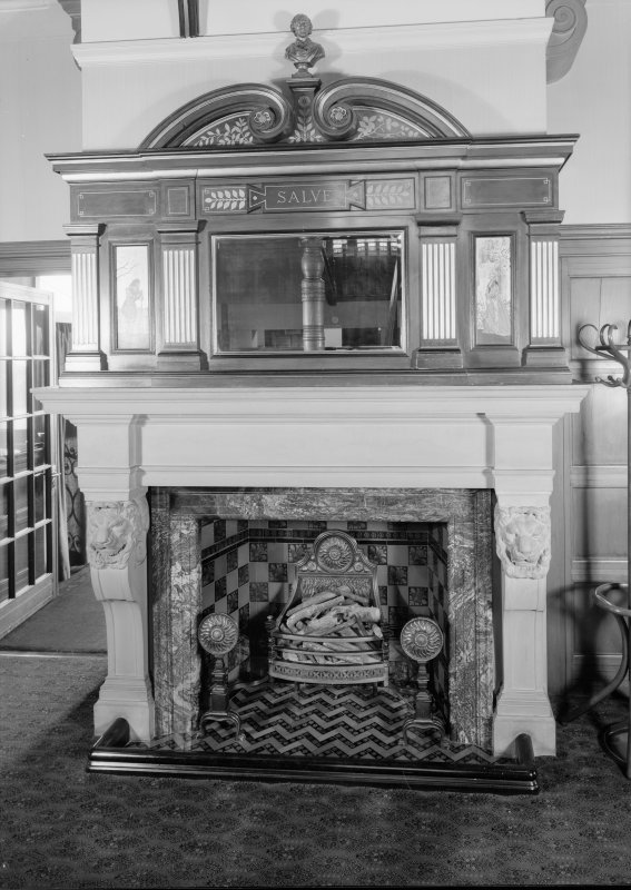 Interiorv view of Cairndhu Hotel, Ardrossan, showing fireplace in hall.