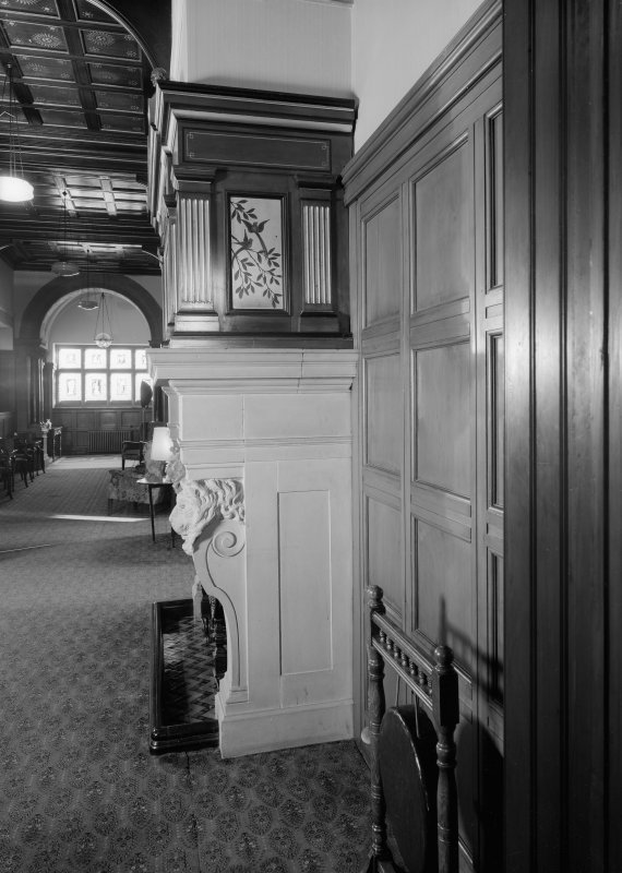 Interior view of Cairndhu Hotel, Ardrossan, showing side of hall fireplace.