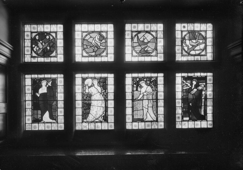 Interior view of Cairndhu Hotel, Ardrossan, showing detail of stained glass in hall.