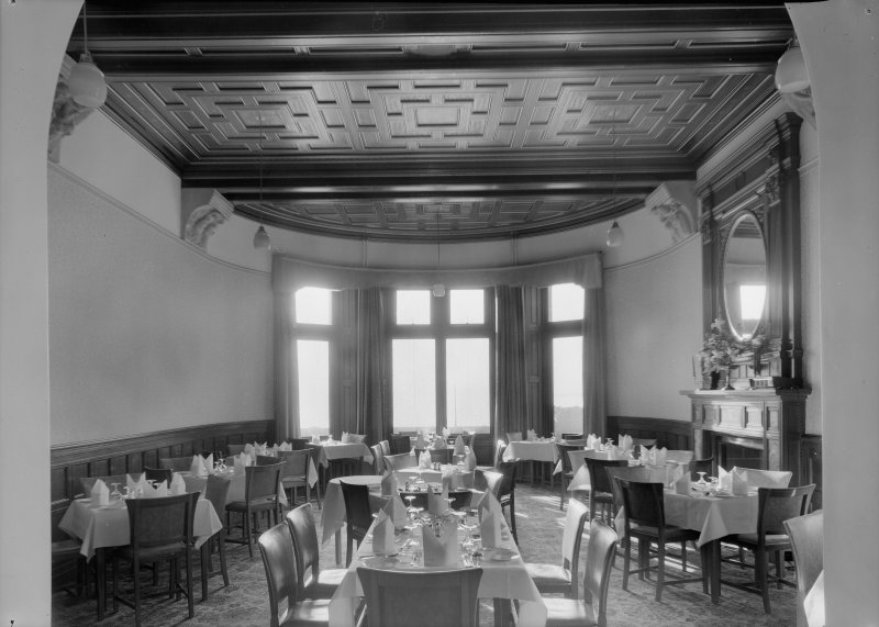 Interior view of Cairndhu Hotel, Ardrossan, showing dining room.