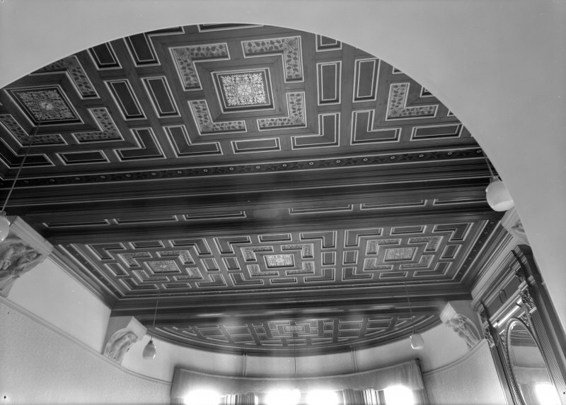 Interior view of Cairndhu Hotel, Ardrossan, showing ceiling in dining room.