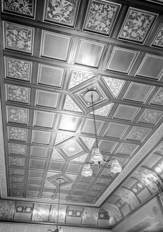 Interior view of Cairndhu Hotel, Ardrossan, showing ceiling in drawing room.