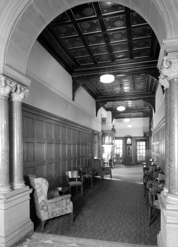 Interior view of Cairndhu Hotel, Ardrossan, showing hall.