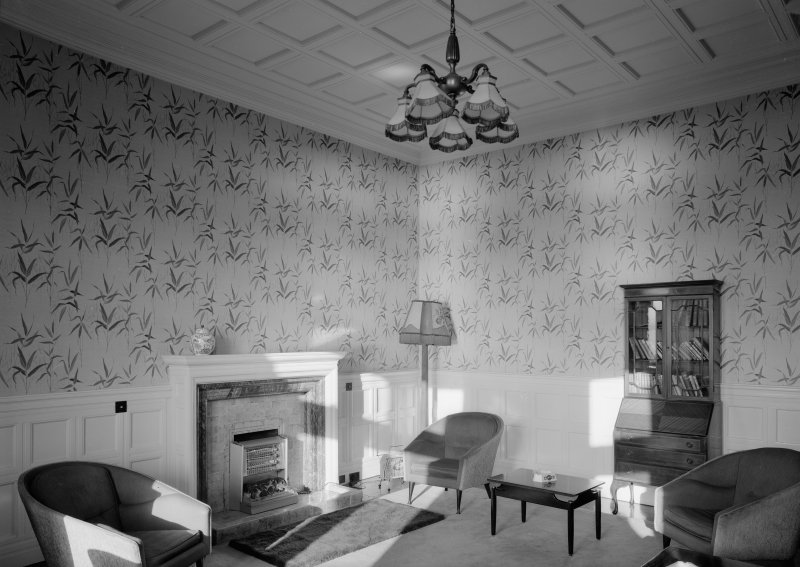Interior view of Cairndhu Hotel, Ardrossan, showing residents lounge on first floor.