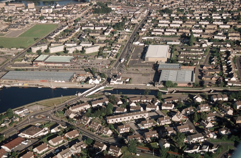 Aerial view of Muirtown Basin, Caledonian Canal, Inverness, looking NE.