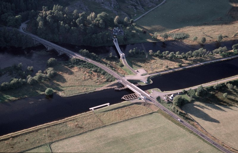 Aerial view of Caledonian Canal at Bridge of Oich, Great Glen, looking WNW.