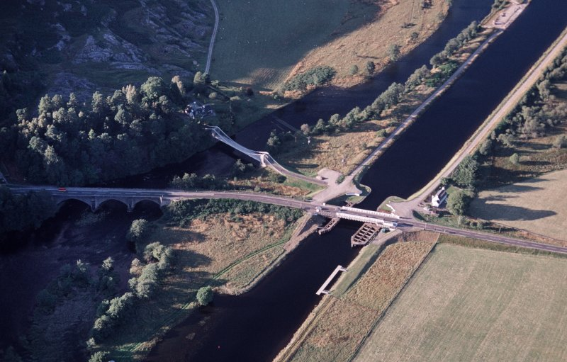 Aerial view of Caledonian canal at Bridge of Oich, Great Glen, looking N.